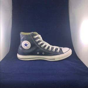 Men Blue Leather Converse High tops
